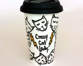 Ceramic Travel Mug Crazy Cat Lady Kitten Heads Lightning Bolts Black White Yellow Pets Hand Painted Porcelain Tumbler - Made to Order