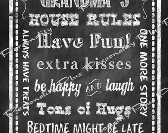 Grandma's House Rules. Chalkboard Style. Instant download 8x10 print