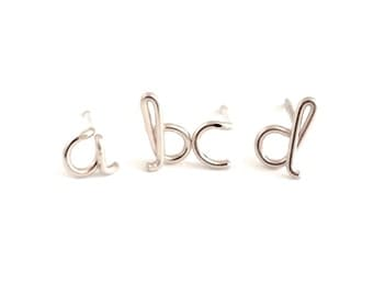 Sterling Silver Initial Studs. Lowercase letter stud earrings