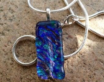 Blue sparkle fused glass necklace