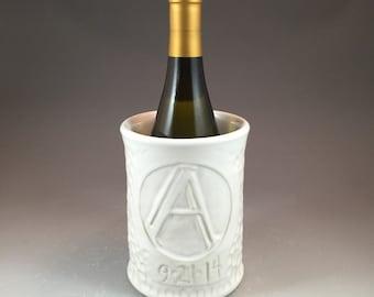 Custom Monogrammed Vase, kitchen utensil crock, or Wine Bottle Chiller with texture choice of glazes