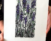 Lavender: wall art, home decor, abstract nature etching, handed colored with pastel