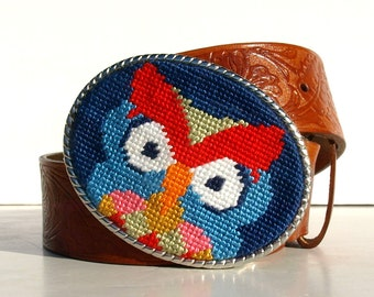 Needlepoint Dutch Owl Belt Buckle