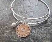 Latitude Longitude Adjustable Bangle Bracelet - Compass Rose - Freshwater Pearl - Personalized