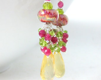 Colorful Gemstone Dangle Earrings, Citrine Peridot Ruby Quartz Earrings, Boro Lampwork Earrings, Pink Yellow Green Earrings - Citrus Punch