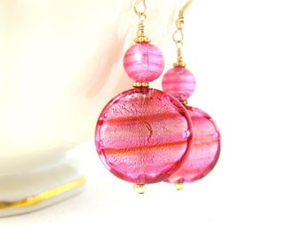 Pink & Gold Earrings, Statement Earrings, Murano Earrings, Fuchsia Dangle Earrings, Glass Earrings, Circle Earrings, Romantic -  Lollypops
