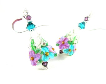 Purple Teal Floral Earrings, Garden Earrings, Nature Jewelry, Granny Floral Jewelry, Lampwork Earrings, Flower Earrings, Glass Earrings