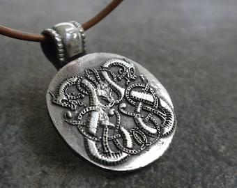 Viking Jewelry Silver Celtic Dragon Necklace Pendant