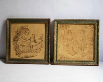 Vintage Tapestries ~ Small Framed Tapestries ~ Cottage Chic Decor~ Neutral Colors