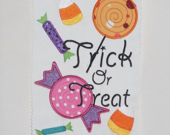 """Embroidered Iron On Applique  """"Trick or Treat"""""""