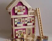 Wooden Dollhouse, 3-Storey Doll House, Natural Wood Doll Furniture, Kids gift, Waldorf, Handmade toy, Jacobs Wooden Toys 'MAGENTA BLOSSOM'