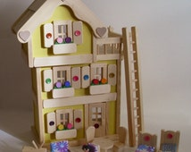 Wooden Doll House, 3-Storey Yellow Dollhouse, Natural Wood Furniture, Handmade Toy, Waldorf, Christmas, Jacobs Wooden Toys 'SUNNY DAFFODIL'