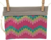 Reversible Project Bag, Knit Chevrons, Pink, Green, Gray Teal,  Medium
