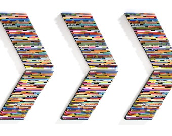 recycled magazine arrow chevron wall art -set of 6 - made from recycled magazines, colorful, unique, round, modern, bright