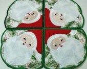 Machine Embroidery Design- Applique Santa - Doily/Candle Mat/Runner/Place mat includes 2 sizes!