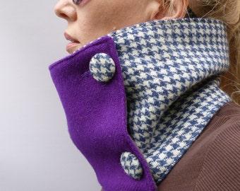 Harris Tweed Scarf - Colour Block wool houndstooth tweed, Purple
