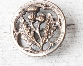 Round vintage brooch, thistle metal retro brooch