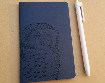 Hand-stamped embossed navy blue Moleskine journal notebook squared pages - Snowy Owl