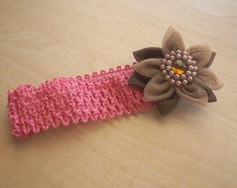 Crochet Flower Headband - Pink and Brown Flower with Pearl and Rhinestone