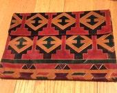 XL Boho 70s Multi Aztec Color Leather Envelope Clutch