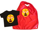 Luchador Amarillo - Yellow Mexican Wrestler Toddler T-Shirt & Red Cape Combo
