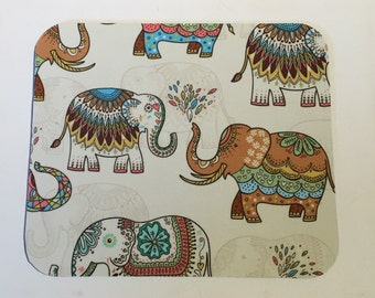 Mouse Pad mouse pad / Mat -  Embellished Elephants Cream  -  round or rectangle - office accessories desk home decor
