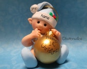 Elf dressed in blue BABYS FIRST CHRISTMAS Ornament Personalized  Elf, Fairy, Gnome Ornament, 1st Christmas Ornament
