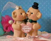 Handsculpted Teddy Bear Wedding Cake Topper with Personalized Heart