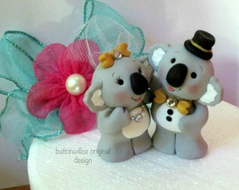 Koala Bears Handmade Custom Wedding Cake Topper and Personalized Figurine Best Friends, Sweethearts, Parent and Child Keepsakes
