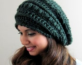Womens Hat Alpaca Wool Slouchy Hat - Slouchy Bobble Beanie Cap Evergreen or CHOOSE Your color Hand Knit Hat