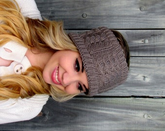 Messy Bun Hat Knit Ear warmer Cable Headband head Wrap Thick Bun Hat