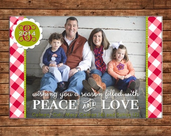 Photo Picture Christmas Holiday Card Monogram Gingham Buffalo Check Peace Love - Digital File