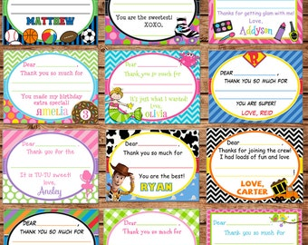 Girl or Boy Fill In The Blank Thank You Note Cards with Envelopes - Made to match ANY of my invitations