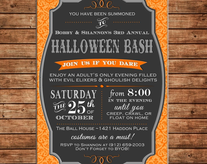 Halloween Invitation Haunted House Typography Adult Birthday Party - Can personalize colors /wording - Printable File or Printed Cards