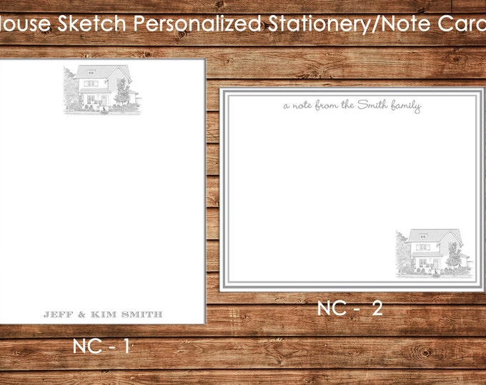 Personalized Printed Digital Pencil Sketch Stationery Notecards Note Cards with envelopes - Design your own
