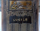 Antique leather book, Lucile by Owen Meredith, embossed leather cover, lovely gift book, illustrated poetry book, 1900's leather book