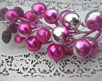 Large mercury glass Christmas spray, pink glass balls made in Japan Christmas decor xmas spray with leaves pink silver xmas bulbs retro xmas
