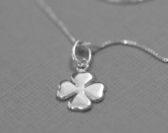 Sterling Silver Four-Leaf Clover Necklace, Sterling Silver Necklace, Friendship Necklace, Silver Necklace, Sterling Silver Necklace