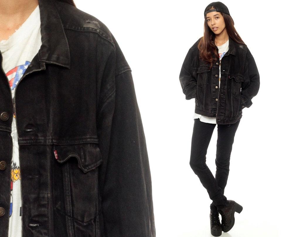 Levis Jacket Black Denim Jacket 80s Levi Jean Oversized Faded