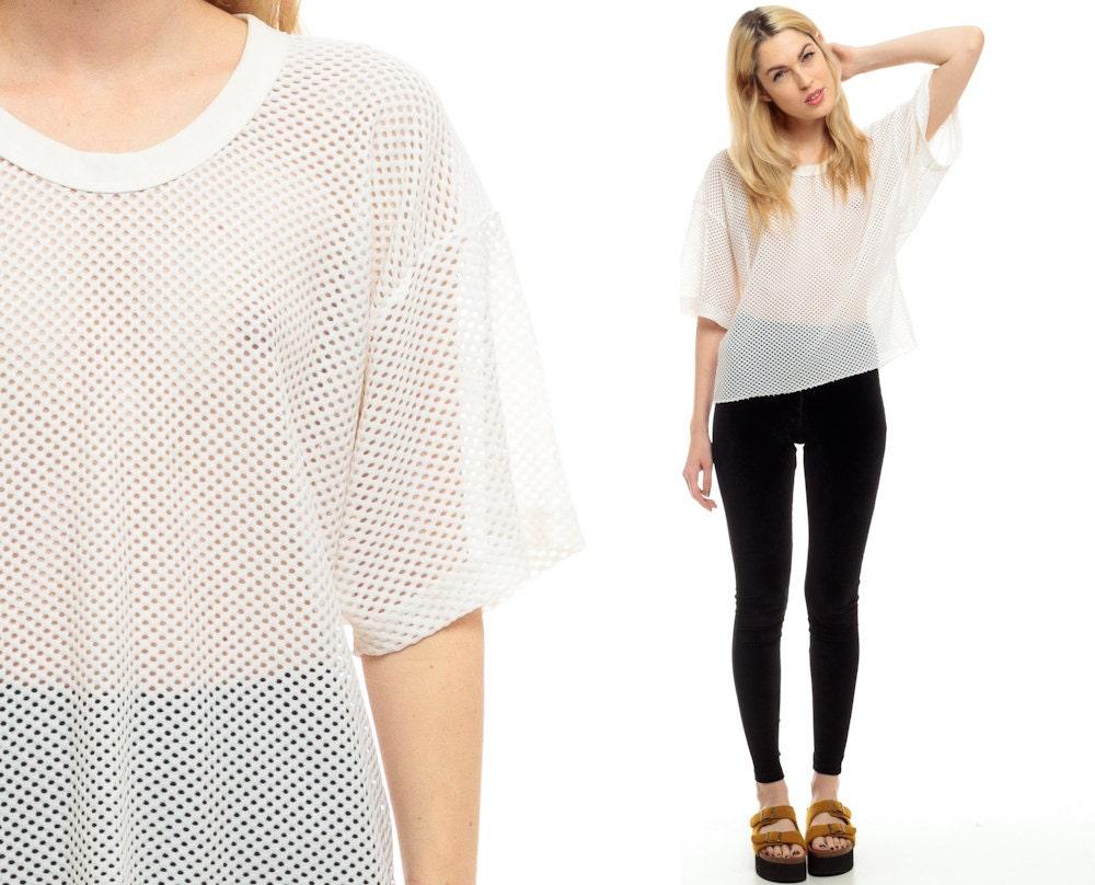 white mesh shirt sheer tshirt vintage 80s football jersey