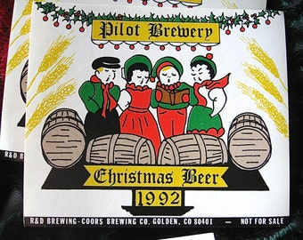Coors Pilot Brewery Christmas Beer Label Lot Private Brew for Holiday Parties R and D Brewing Golden Colorado