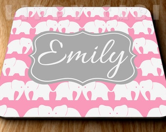Elephants Mouse Pad Monogram Mousepad Elephants Mousepad Personalized Mousepad Custom Mouse Pad Custom Mousepad Personalized Mouse Pad
