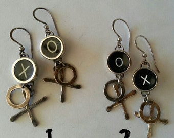 Typewriter Key Earrings in Sterling Silver ~ X and O ~