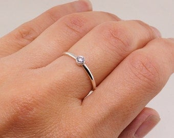 Sterling Silver Birthstone Ring • Stacking Ring • Engagement Ring • Gemstone Ring • Cubic Zirconia Ring • Gift for Her • Gift for Mom