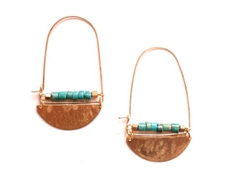 Lunar Earrings in Turquoise- Brass half moon shape gold fill hoop earring wires