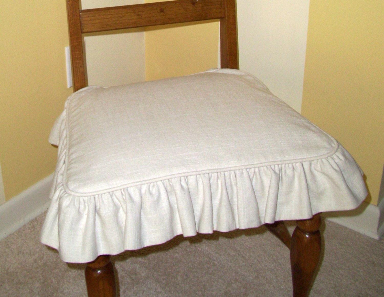 Linen Chair Seat SLIPCOVER Ruffled Skirt Washable Slipcover