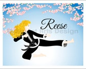 Flying Side Kick with Cherry Blossoms  -  Wall Print  (or)  Greeting Cards