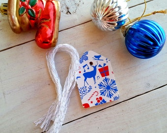 30 Fancy, high quality, Christmas Design,  recycled favor tags, shipping tags