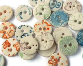 Round Buttons - Ceramic Button - Craft Buttons - Ceramic Round Buttons - Unique Button - Porcelain Button -  Price is per button