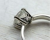 White Topaz Gemstone Ring in Sterling Silver, custom size with art deco setting and simple band